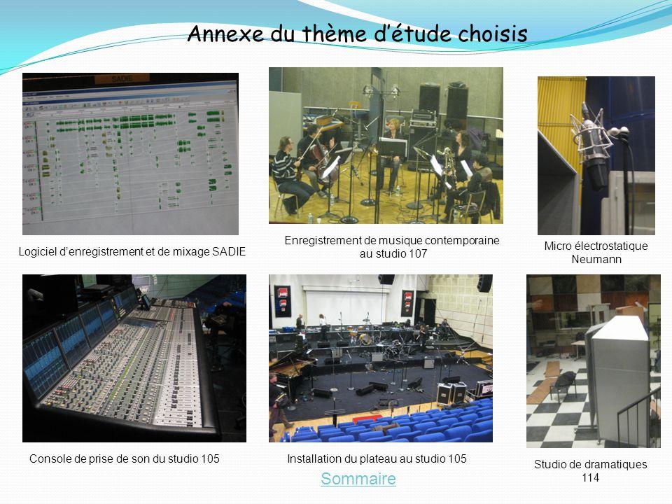Annexe du thème détude choisis Sommaire Installation du plateau au studio 105 Logiciel denregistrement et de mixage SADIE Console de prise de son du s