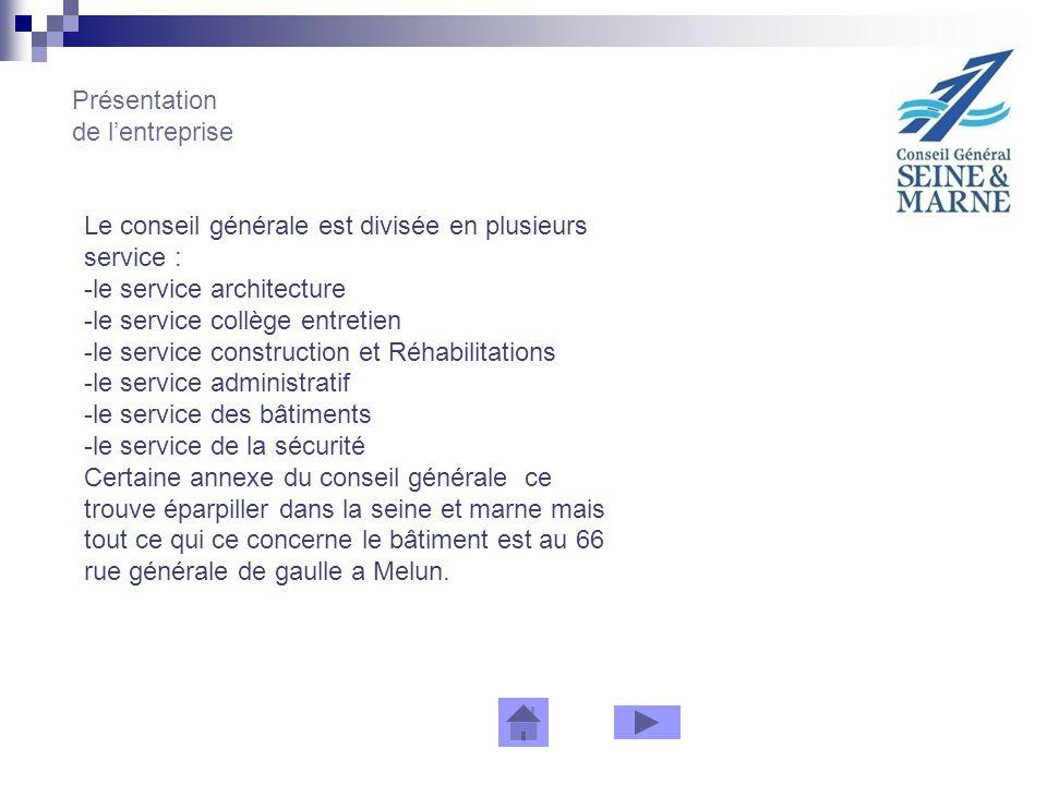 Présentation de lentreprise Le conseil générale est divisée en plusieurs service : -le service architecture -le service collège entretien -le service