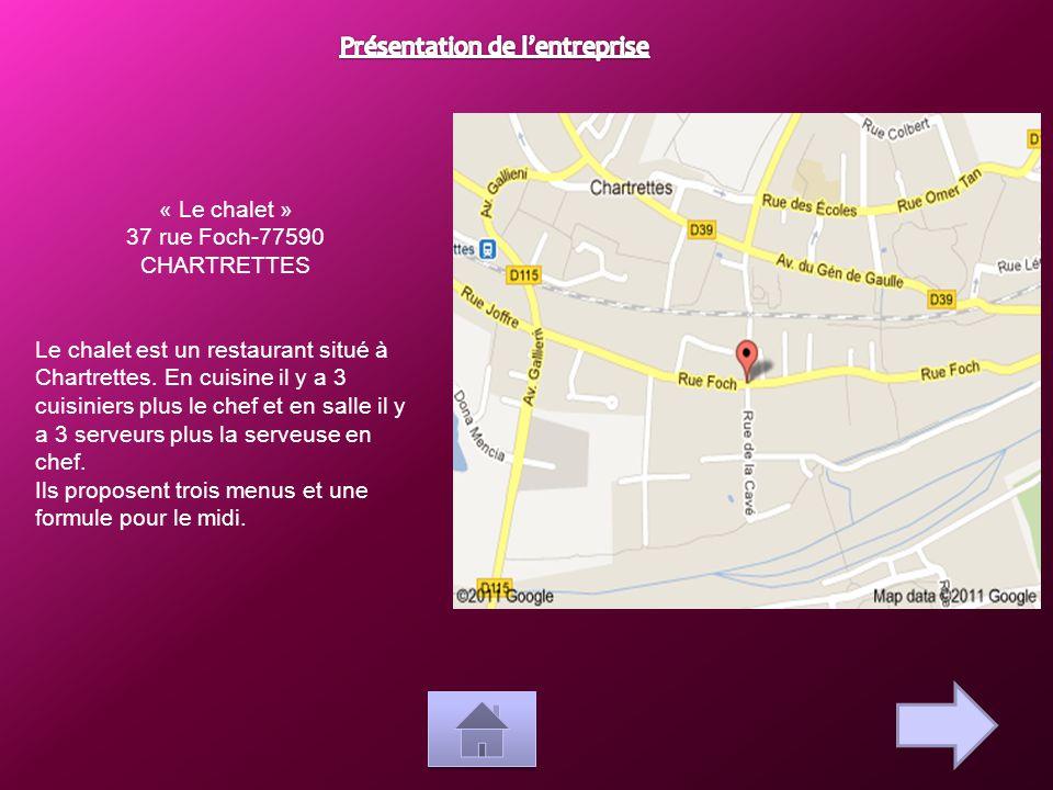 « Le chalet » 37 rue Foch-77590 CHARTRETTES Le chalet est un restaurant situé à Chartrettes. En cuisine il y a 3 cuisiniers plus le chef et en salle i