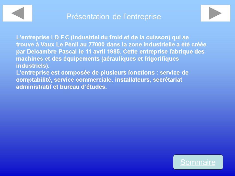 Présentation de lentreprise Sommaire Lentreprise I.D.F.C (industriel du froid et de la cuisson) qui se trouve à Vaux Le Pénil au 77000 dans la zone in