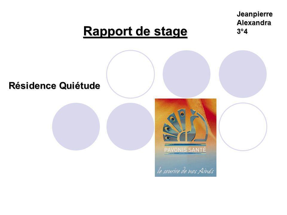 Rapport de stage Jeanpierre Alexandra 3°4 Résidence Quiétude