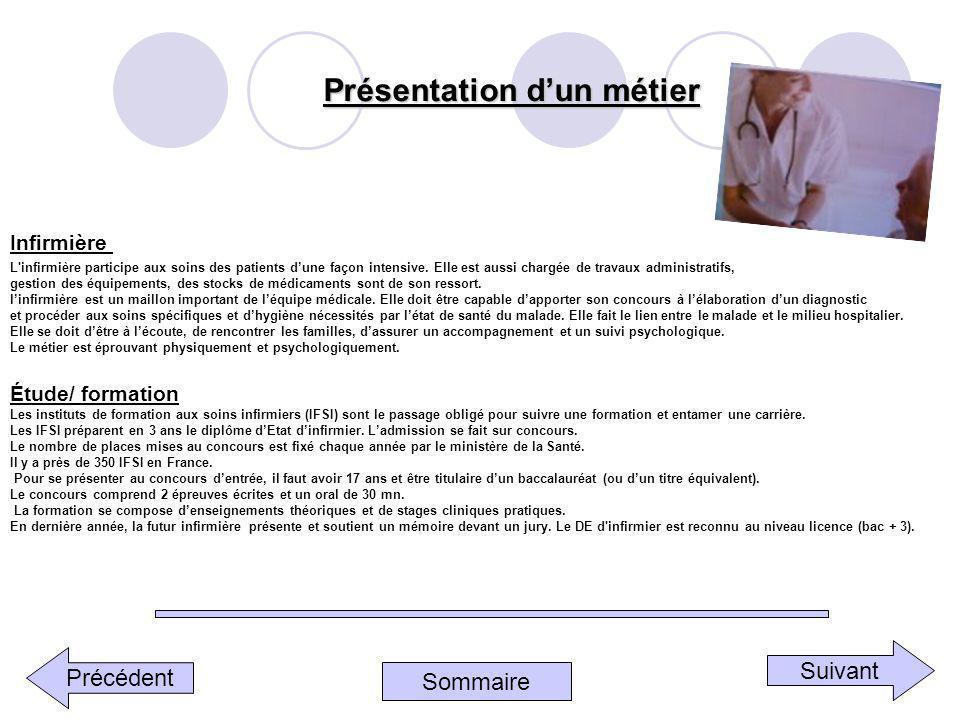 Sommaire Précédent SuivantPrésentation dun métier Infirmière L'infirmière participe aux soins des patients dune façon intensive. Elle est aussi chargé