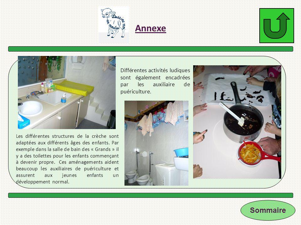 Annexe Les différentes structures de la crèche sont adaptées aux différents âges des enfants. Par exemple dans la salle de bain des « Grands » il y a