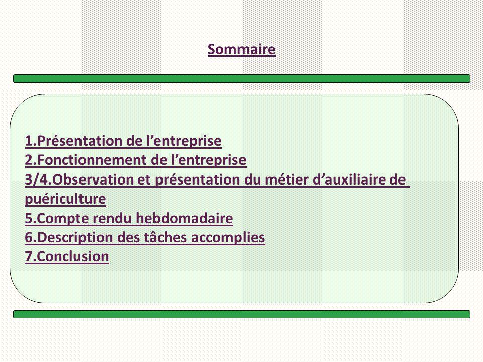Sommaire 1.Présentation de lentreprise 2.Fonctionnement de lentreprise 3/4.Observation et présentation du métier dauxiliaire de puériculture 5.Compte