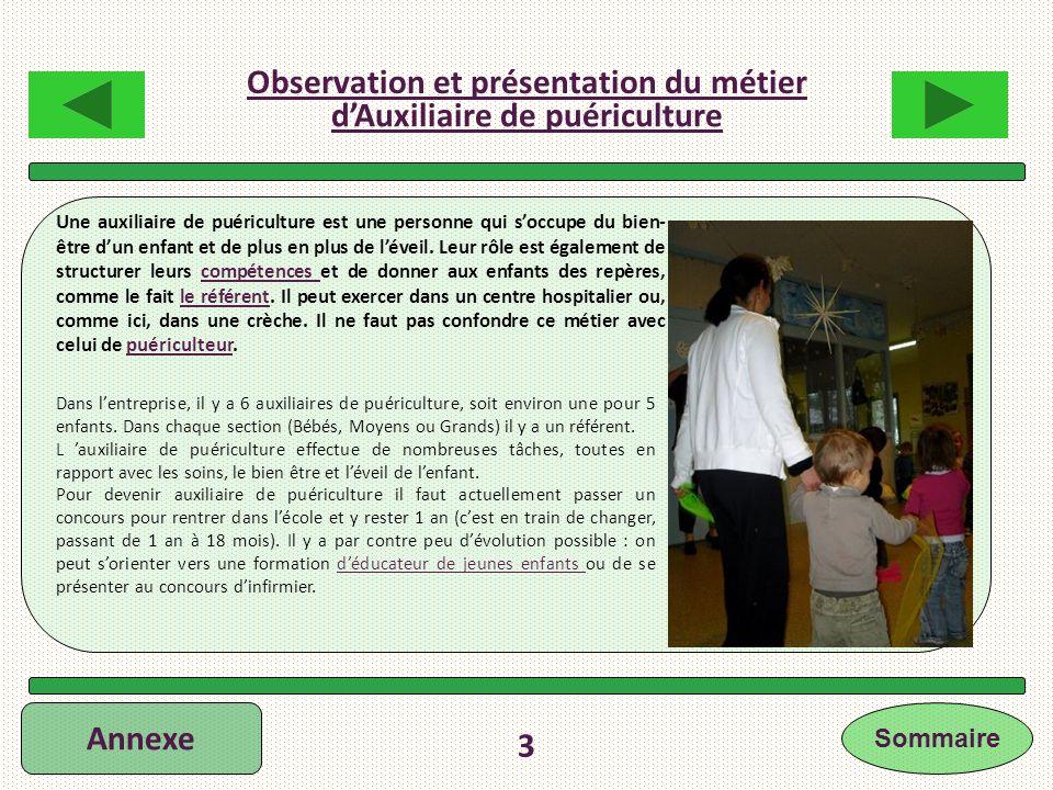 Annexe 3 Une auxiliaire de puériculture est une personne qui soccupe du bien- être dun enfant et de plus en plus de léveil. Leur rôle est également de
