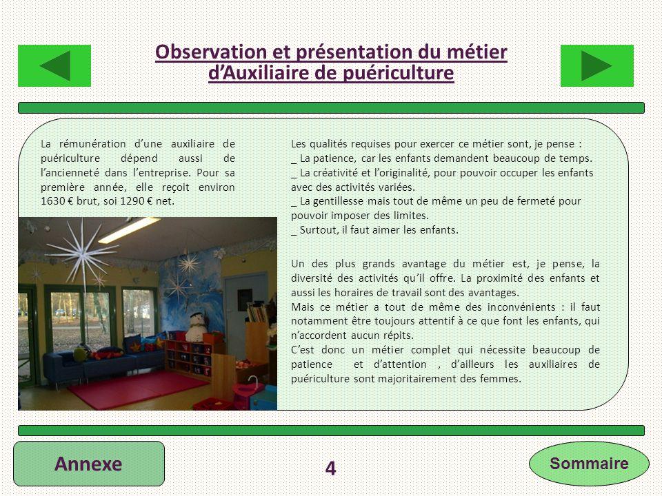 Annexe 4 Les qualités requises pour exercer ce métier sont, je pense : _ La patience, car les enfants demandent beaucoup de temps. _ La créativité et