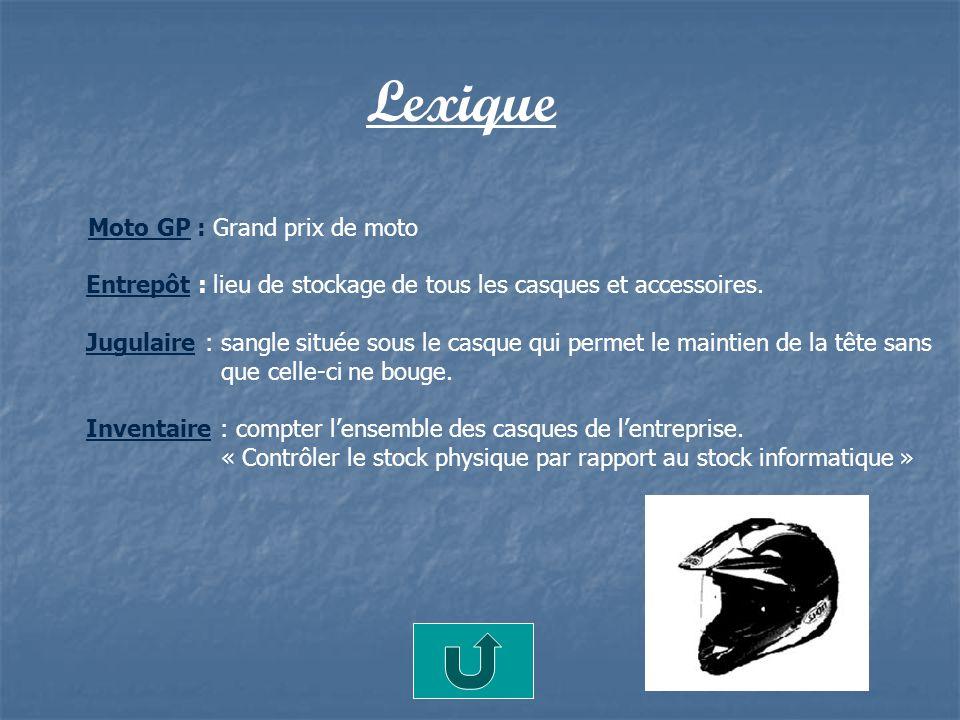 Lexique Moto GP : Grand prix de moto Entrepôt : lieu de stockage de tous les casques et accessoires. Jugulaire : sangle située sous le casque qui perm