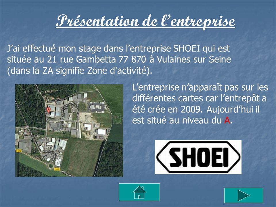 Présentation de lentreprise Jai effectué mon stage dans lentreprise SHOEI qui est située au 21 rue Gambetta 77 870 à Vulaines sur Seine (dans la ZA si