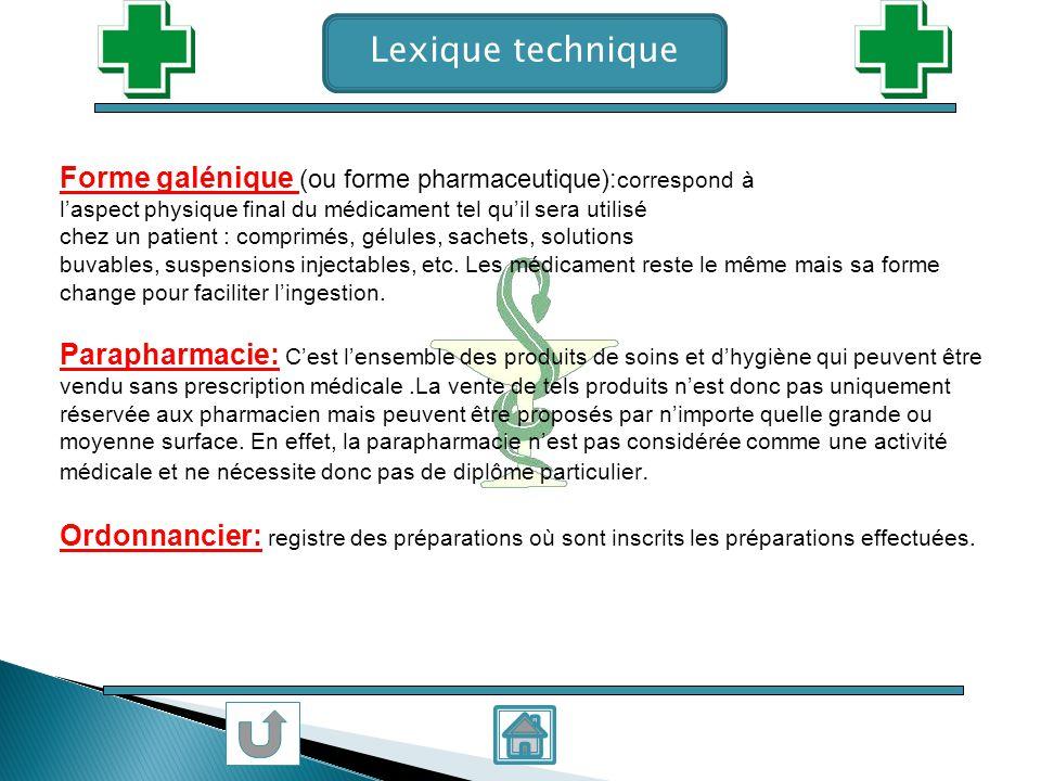 Lexique technique Forme galénique (ou forme pharmaceutique): correspond à laspect physique final du médicament tel quil sera utilisé chez un patient :