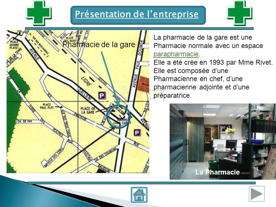 Pharmacie de la gare Présentation de lentreprise La pharmacie de la gare est une Pharmacie normale avec un espace parapharmacie. parapharmacie Elle a