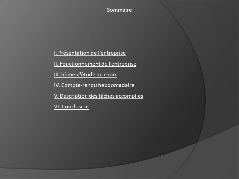 Sommaire I. Présentation de lentreprise II. Fonctionnement de lentreprise III. hème détude au choix IV. Compte-rendu hebdomadaire V. Description des t