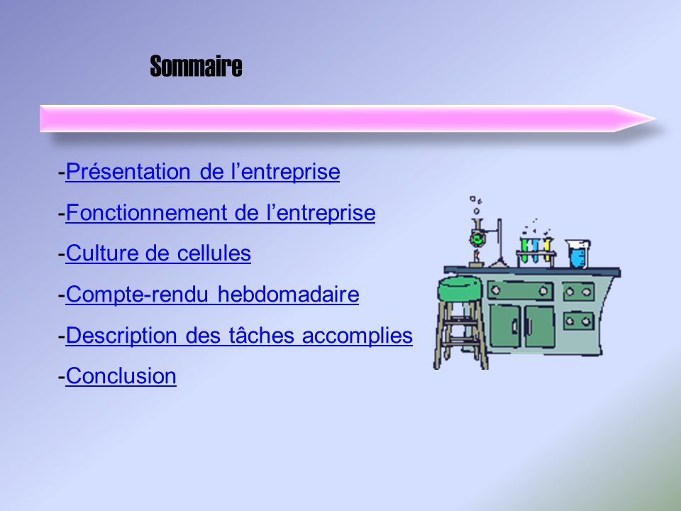 Sommaire -Présentation de lentreprisePrésentation de lentreprise -Fonctionnement de lentrepriseFonctionnement de lentreprise -Culture de cellulesCultu