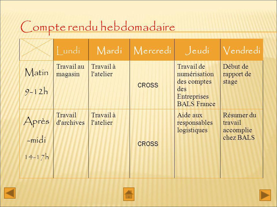 Compte rendu hebdomadaire LundiMardiMercrediJeudiVendredi Matin 9-12h Travail au magasin Travail à l'atelier CROSS Travail de numérisation des comptes