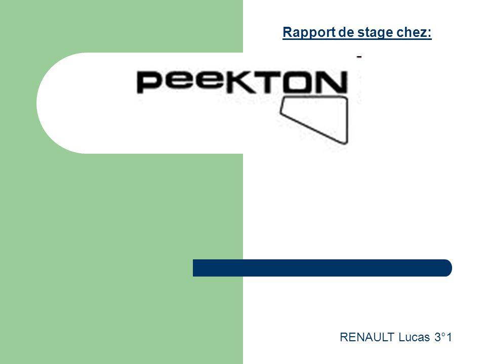 RENAULT Lucas 3°1 Rapport de stage chez:
