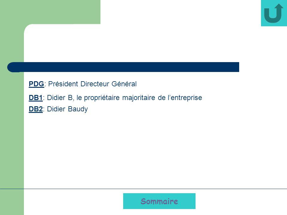 Sommaire PDG: Président Directeur Général DB1: Didier B, le propriétaire majoritaire de lentreprise DB2: Didier Baudy