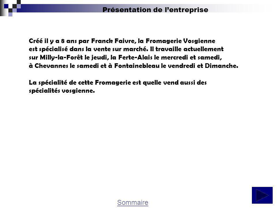 Sommaire Présentation de lentreprise Créé il y a 8 ans par Franck Faivre, la Fromagerie Vosgienne est spécialisé dans la vente sur marché. Il travaill