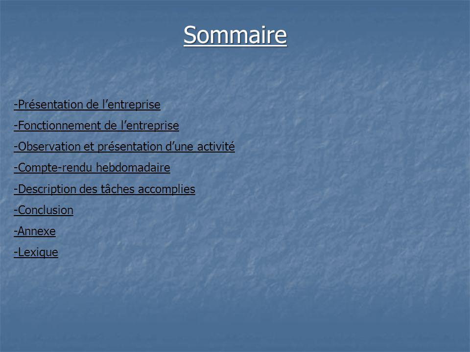 Sommaire -Présentation de lentreprise -Fonctionnement de lentreprise -Observation et présentation dune activité -Compte-rendu hebdomadaire -Description des tâches accomplies -Conclusion -Annexe -Lexique