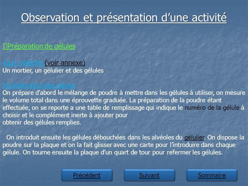 Observation et présentation dune activité Suivant Précédent Sommaire I)Préparation de gélules a)Le matériel (voir annexe)(voir annexe) Un mortier, un