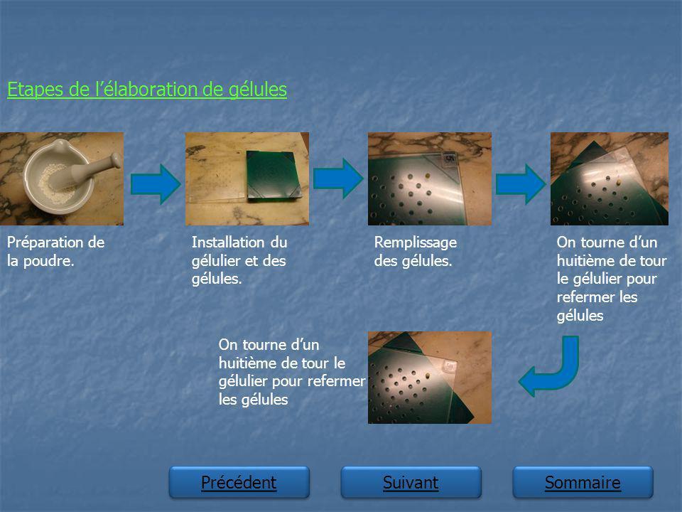 Suivant Précédent Sommaire Etapes de lélaboration de gélules Préparation de la poudre. Installation du gélulier et des gélules. Remplissage des gélule