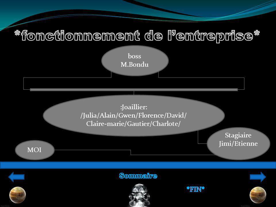 :Joaillier: /Julia/Alain/Gwen/Florence/David/ Claire-marie/Gautier/Charlote/ boss M.Bondu Stagiaire Jimi/Etienne MOI