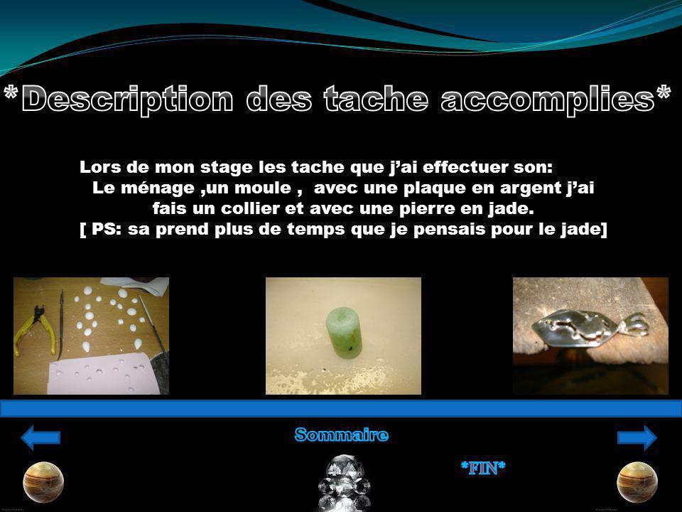 Lors de mon stage les tache que jai effectuer son: Le ménage,un moule, avec une plaque en argent jai fais un collier et avec une pierre en jade.