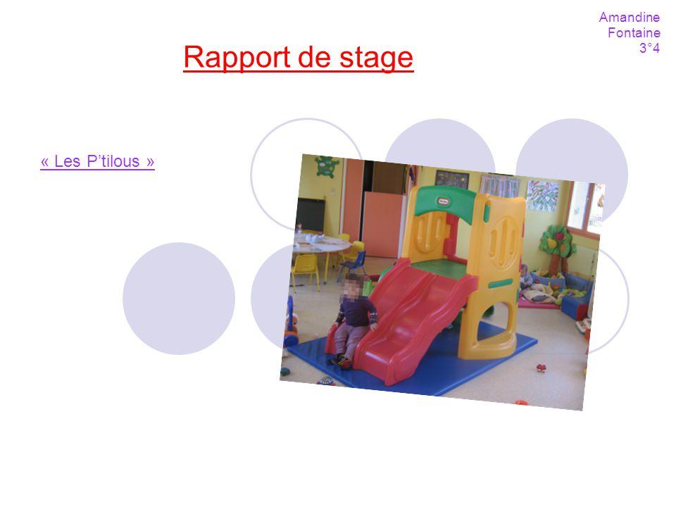 Rapport de stage Amandine Fontaine 3°4 « Les Ptilous »