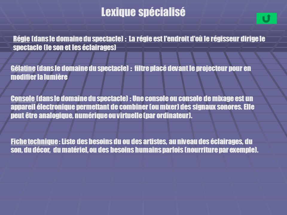 Lexique spécialisé Régie (dans le domaine du spectacle) : La régie est l'endroit d'où le régisseur dirige le spectacle (le son et les éclairages) Géla