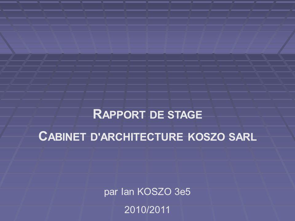 R APPORT DE STAGE C ABINET D'ARCHITECTURE KOSZO SARL par Ian KOSZO 3e5 2010/2011