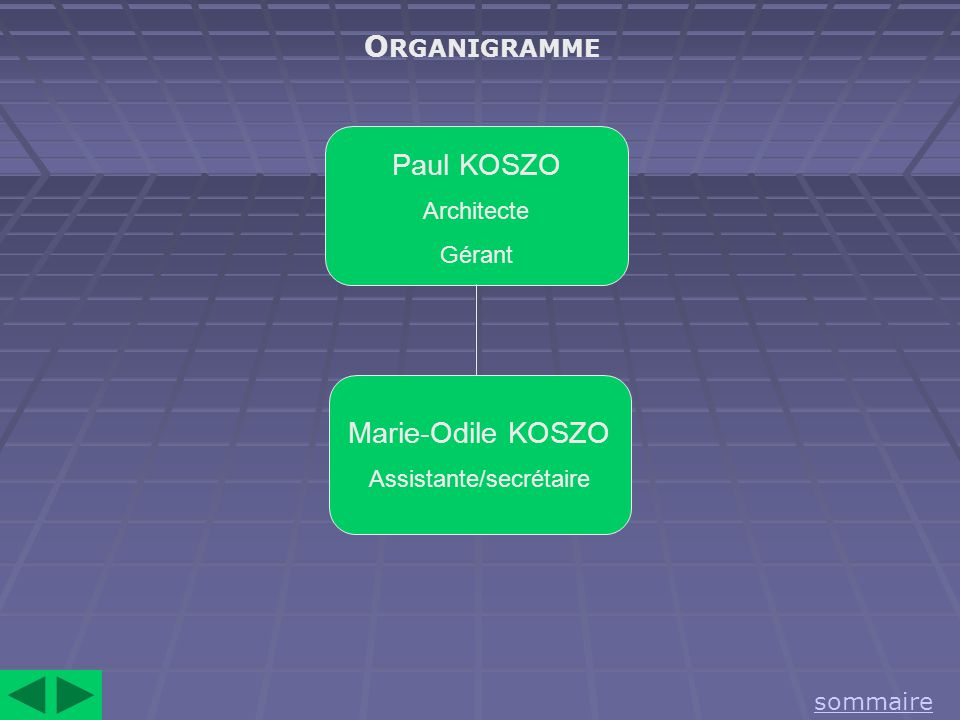 O RGANIGRAMME sommaire Paul KOSZO Architecte Gérant Marie-Odile KOSZO Assistante/secrétaire