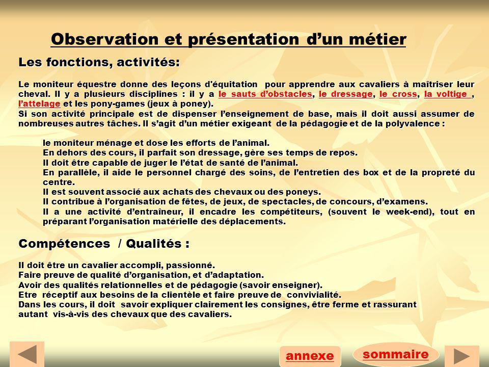 sommaire annexe Observation et présentation dun métier Les fonctions, activités: Le moniteur équestre donne des leçons d'équitation pour apprendre aux