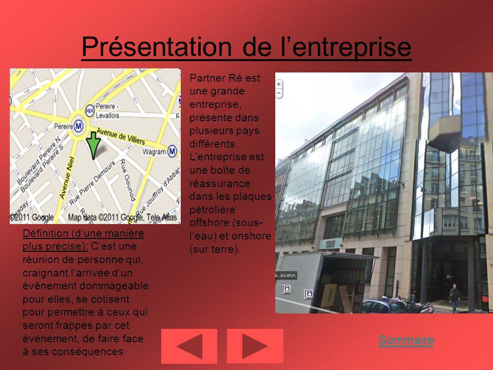 Présentation de lentreprise Partner Ré est une grande entreprise, présente dans plusieurs pays différents.