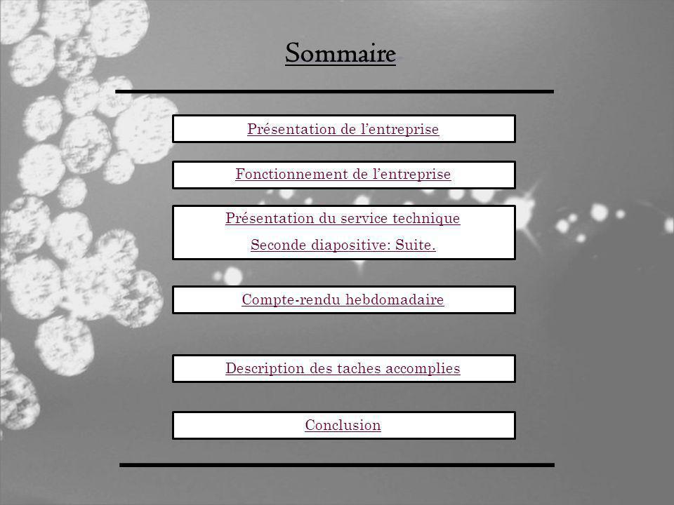 Sommaire Présentation de lentreprise Présentation du service technique Seconde diapositive: Suite.
