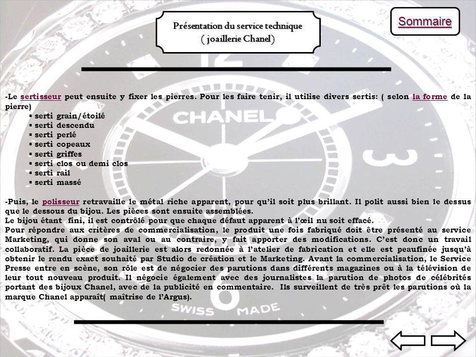 SSSS oooo mmmm mmmm aaaa iiii rrrr eeee Présentation du service technique ( joaillerie Chanel) -Le sertisseur peut ensuite y fixer les pierres.