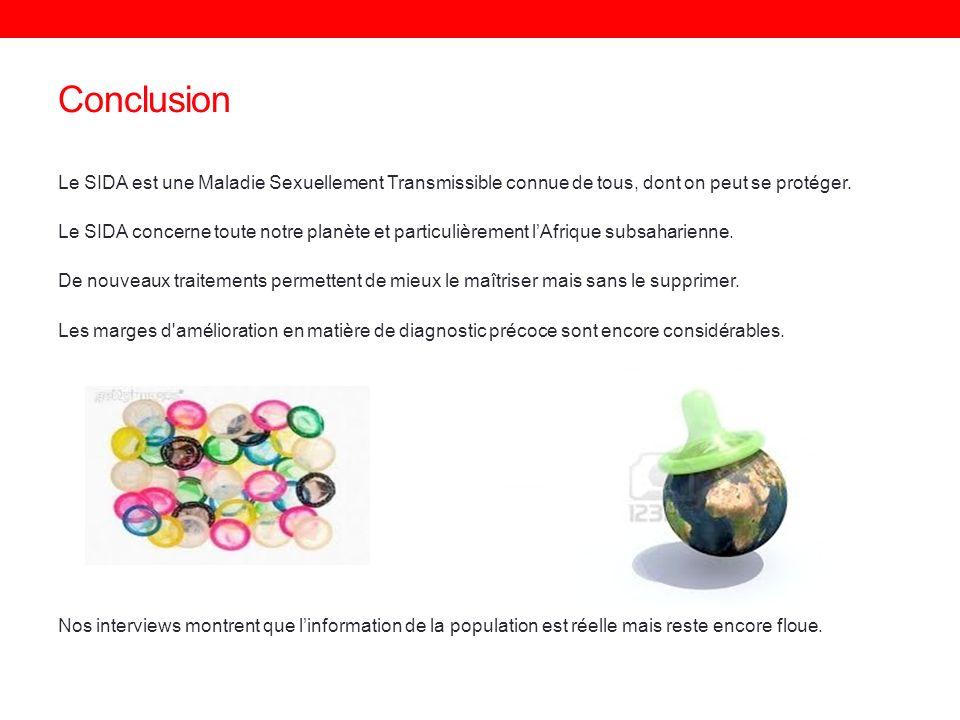 Conclusion Le SIDA est une Maladie Sexuellement Transmissible connue de tous, dont on peut se protéger.
