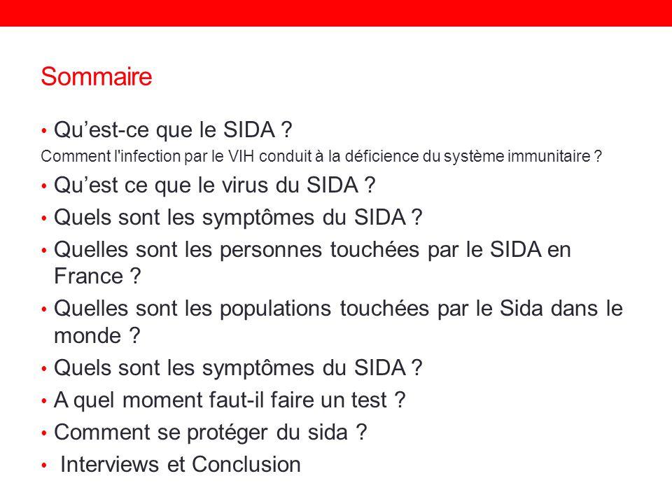 Sommaire Quest-ce que le SIDA ? Comment l'infection par le VIH conduit à la déficience du système immunitaire ? Quest ce que le virus du SIDA ? Quels