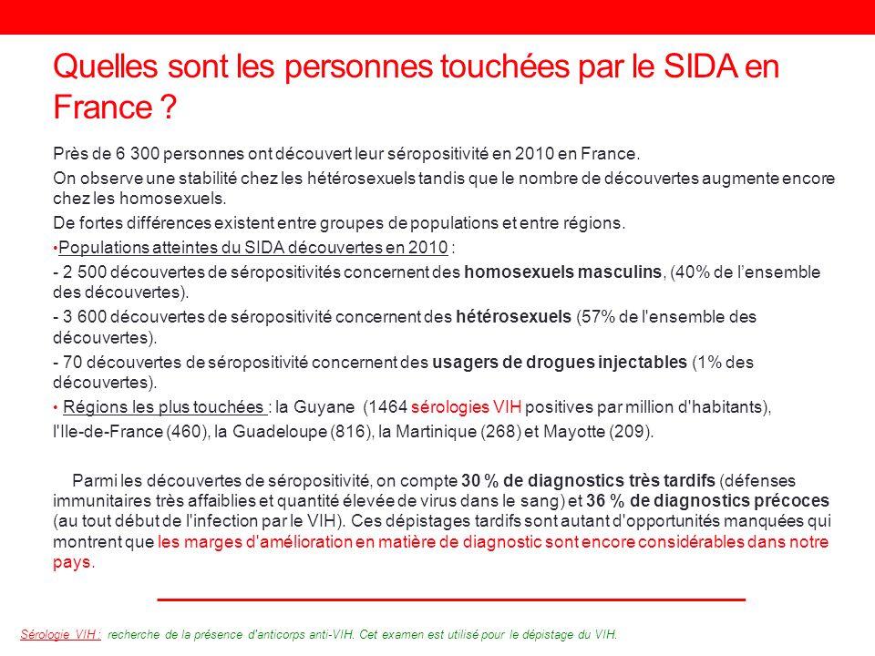 Quelles sont les personnes touchées par le SIDA en France ? Près de 6 300 personnes ont découvert leur séropositivité en 2010 en France. On observe un