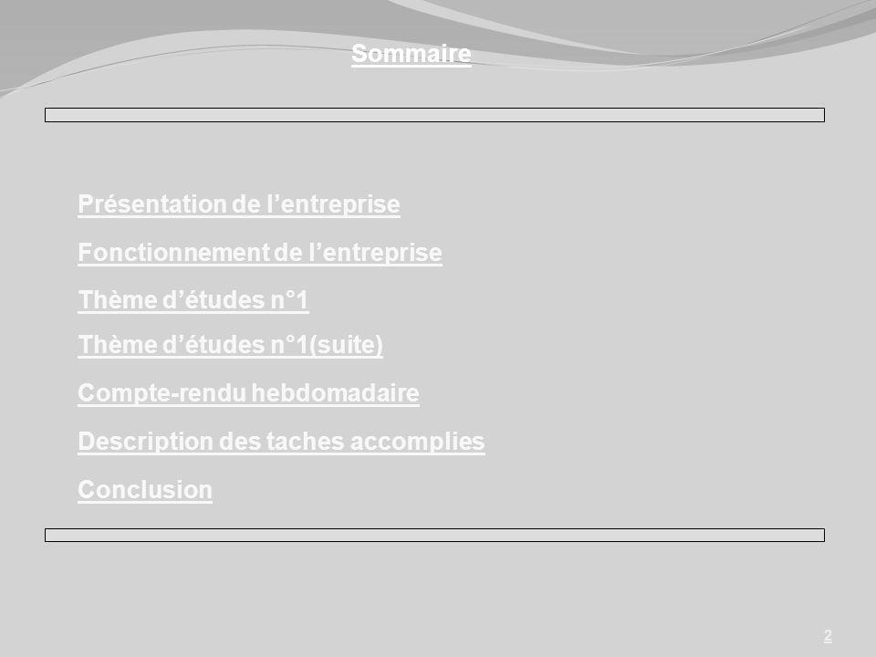2 Présentation de lentreprise Fonctionnement de lentreprise Compte-rendu hebdomadaire Description des taches accomplies Conclusion Sommaire Thème détu