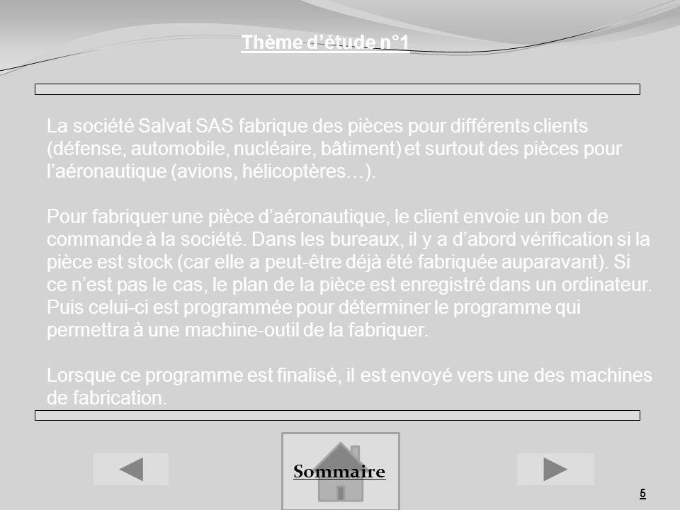 5 Thème détude n°1 Sommaire La société Salvat SAS fabrique des pièces pour différents clients (défense, automobile, nucléaire, bâtiment) et surtout de