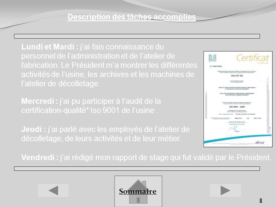 8 Description des tâches accomplies Lundi et Mardi : jai fais connaissance du personnel de ladministration et de latelier de fabrication. Le Président