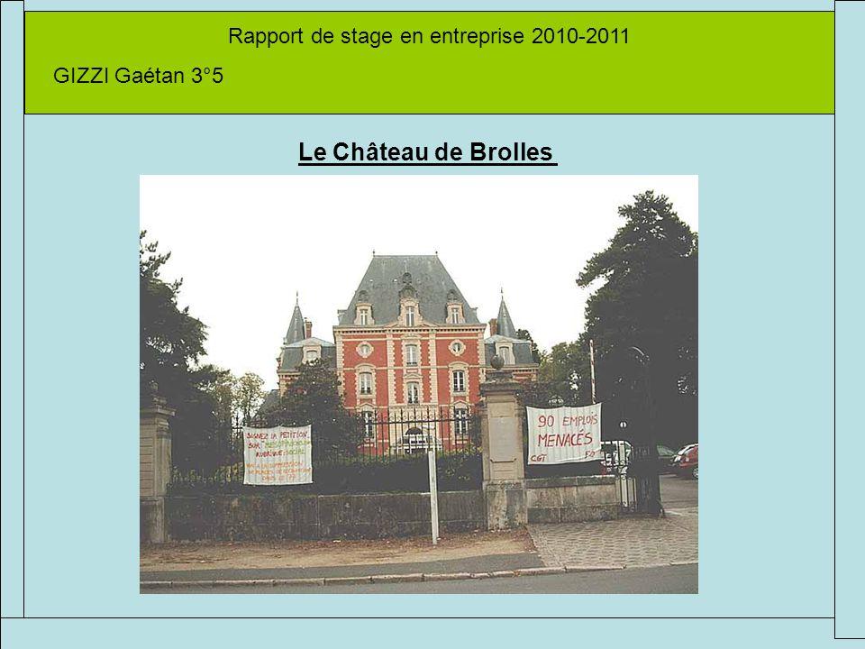Rapport de stage en entreprise 2010-2011 GIZZI Gaétan 3°5 Le Château de Brolles