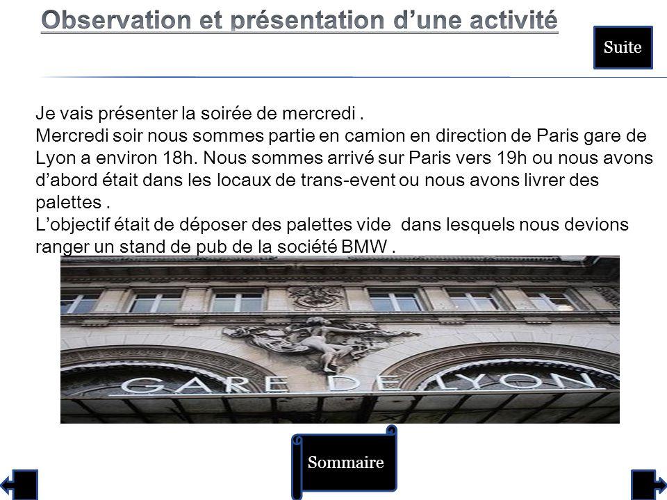 Sommaire Suite Je vais présenter la soirée de mercredi. Mercredi soir nous sommes partie en camion en direction de Paris gare de Lyon a environ 18h. N