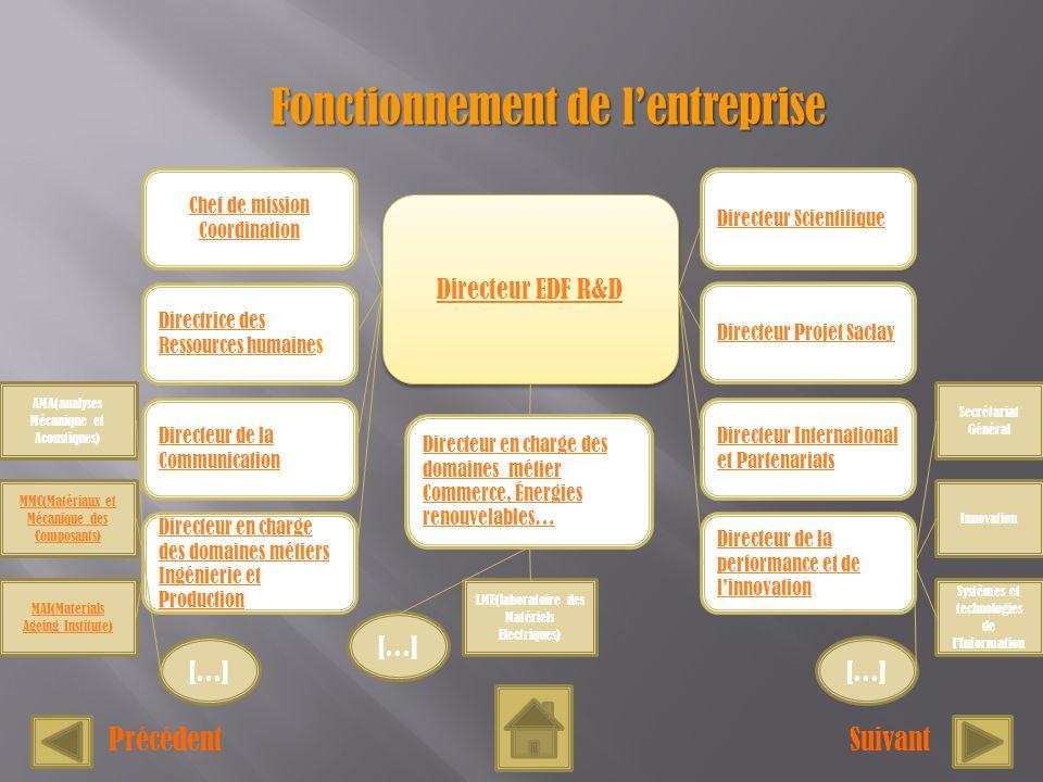 Fonctionnement de lentreprise SuivantPrécédent Directeur EDF R&D Directeur EDF R&D Chef de mission Coordination Directrice des Ressources humaineDirec