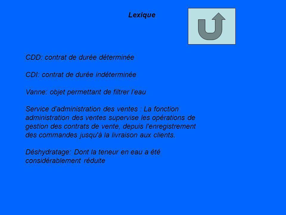 Lexique CDD: contrat de durée déterminée CDI: contrat de durée indéterminée Vanne: objet permettant de filtrer leau Service dadministration des ventes