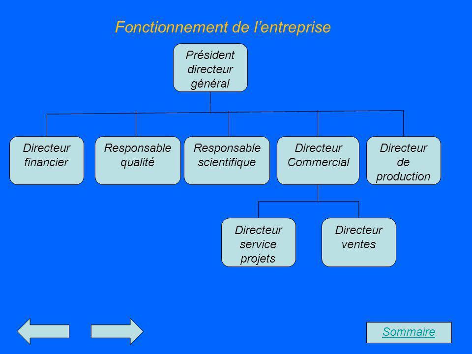 Fonctionnement de lentreprise Sommaire Président directeur général Directeur ventes Directeur service projets Directeur de production Directeur Commer