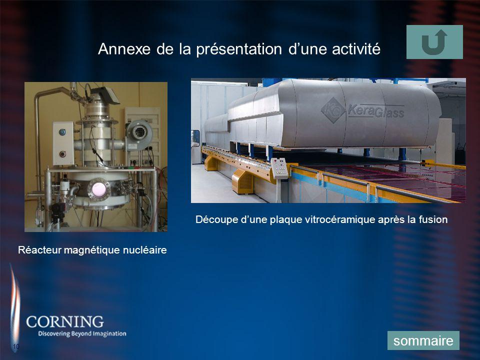 10 Annexe de la présentation dune activité sommaire Réacteur magnétique nucléaire Découpe dune plaque vitrocéramique après la fusion