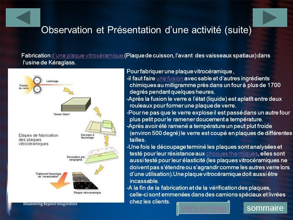 6 Observation et Présentation dune activité (suite) 6 Fabrication dune plaque vitrocéramique (Plaque de cuisson, lavant des vaisseaux spatiaux) dansdu