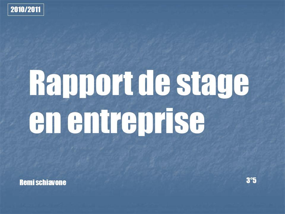 Rapport de stage en entreprise Remi schiavone 3°5 2010/2011