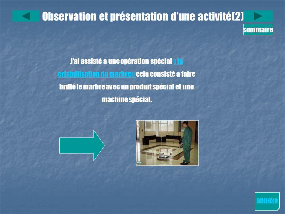 Observation et présentation dune activité(2) sommaire annexe Jai assisté a une opération spécial « la« la cristallisation du marbre » cristallisation