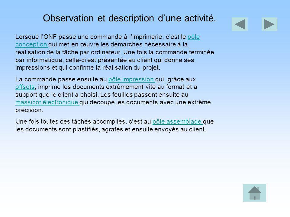 Observation et description dune activité. Lorsque lONF passe une commande à limprimerie, cest le pôle conception qui met en œuvre les démarches nécess