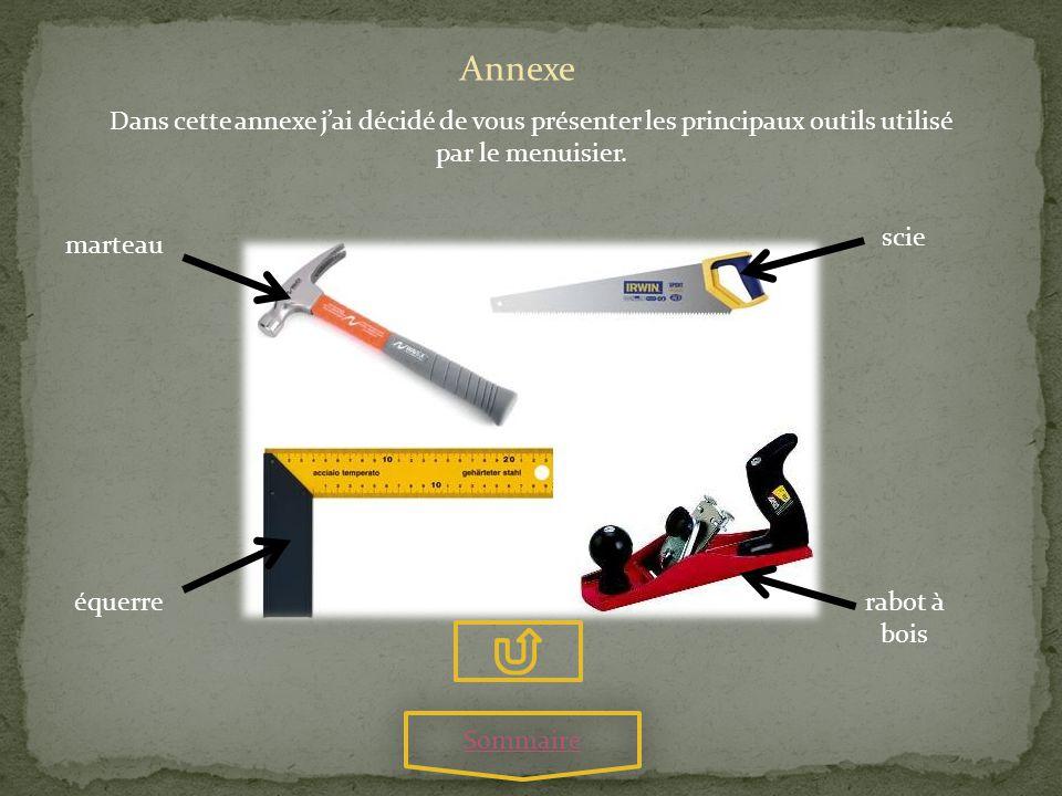 Annexe Dans cette annexe jai décidé de vous présenter les principaux outils utilisé par le menuisier. scie marteau équerrerabot à bois Sommaire